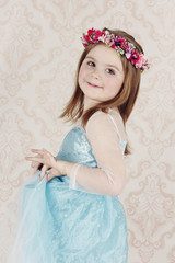 Little princess wearing floral wreath