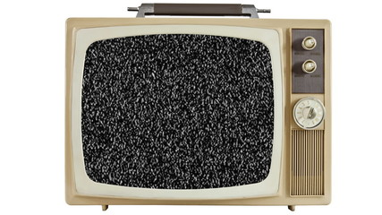 Vintage Television with Static Screen and Zoom