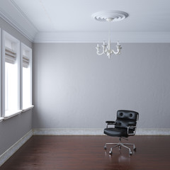 New empty white interior with leather armchair and chandelier