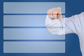 Businessman beim zeigen auf Auswahl Organisation, Business