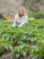 Portrait of woman gardening with potato plants