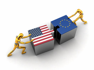 Political or financial concept of the USA struggling with the EU