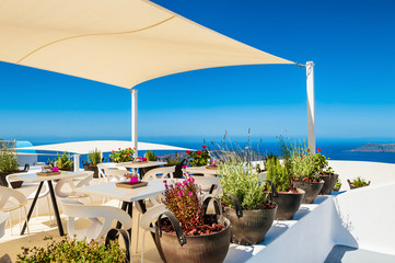 Cafe on the terrace with sea view