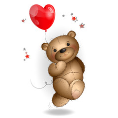 Happy Teddy bear running with a balloon 1