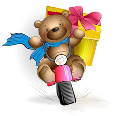 Happy Teddy bear riding a motorcycle with a gift