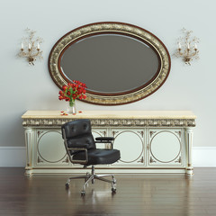 Vintage dressing table with carved framed mirror and armchair