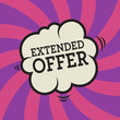Comic explosion with text Extended Offer, vector