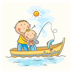 Father and son in the boat