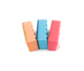 Multicolored sponges for washing dishes