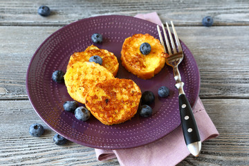 Tasty toast with blueberries