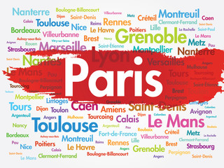 List of cities in France. Paris word cloud concept
