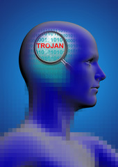 profile of a man with close up of magnifying glass on trojan