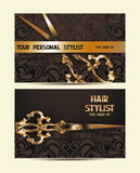 Fototapety Hair stylist personal cards with scissors and floral design