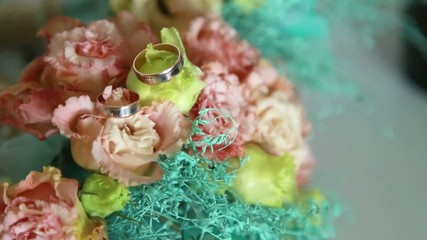 wedding bouquet, eustoma flowers, rings, beautiful bouquet