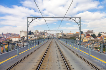 Subway railway tracks on the Dom Luis I bridge