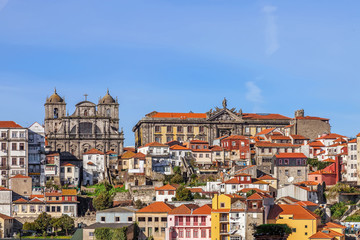 Skyline of the old part of the city of Porto