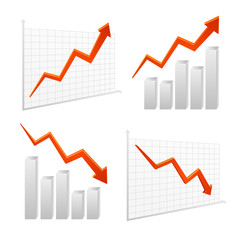 set vector chart graph positive, negative infographic