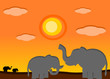 canvas print picture - Elephant in the sunset