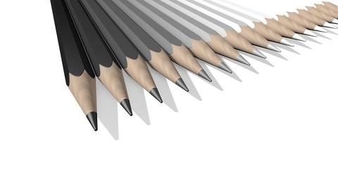 Potloden met scherpe punt in grijstinten