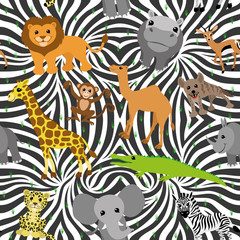 Vector seamless background. African animals.