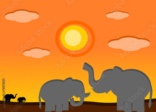 canvas print picture Elephant in the sunset