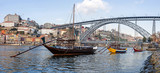 The Rabelo Boats and the Dom Luis I Bridge. Porto, Portugal