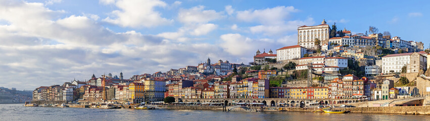 Panorama of the Ribeira District of the city of Porto, Portugal