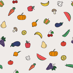 Healthy Food seamless pattern.