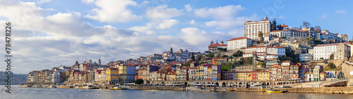 Leinwanddruck Bild Panorama of the Ribeira District of the city of Porto, Portugal