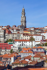 The iconic Clerigos Tower in the city of Porto, Portugal