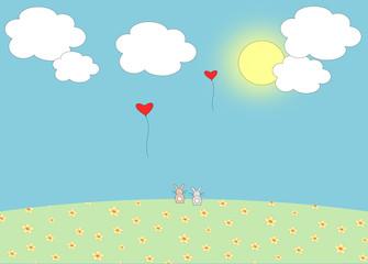 Love balloon and the romantic bunnies