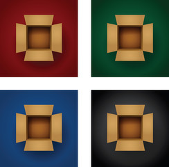 set of card board boxes