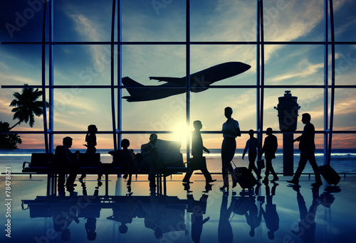 Back Lit Business People Traveling Airplane Airport Concept - 78478671