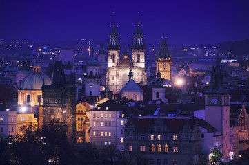 Aerial view of Prague at night