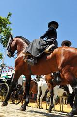 Mujer a caballo, Feria de Sevilla, Andalucía, España