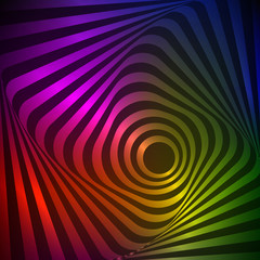 Illusion of wavy rotation movement. Neon vector art.
