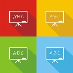 Iconos pizarra ABC colores sombra