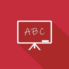 Icono pizarra ABC rojo sombra