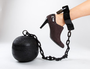 woman's foot with prison ball