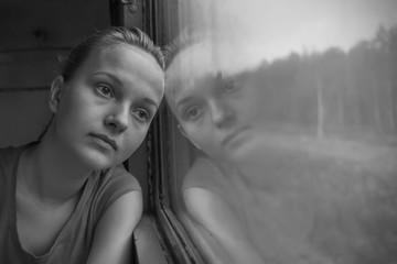 Teenage girl in the train