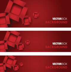 red set of card board box banners