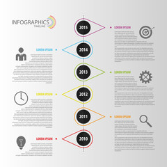 Flat colorful abstract timeline infographics vector.