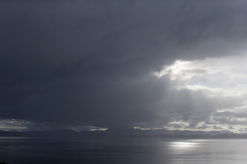 Dramatic stormy sky over sea