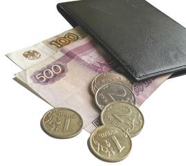 Деньги, выглядывающие из кошелька