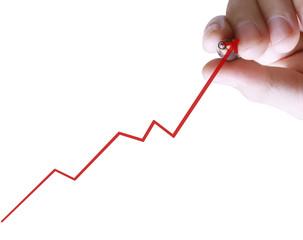businessman hand writing  business graph