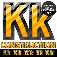 Warning of danger styled striped alphabet. Letter K
