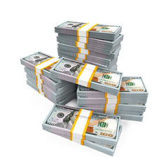 Stacks of New 100 US Dollar Banknotes