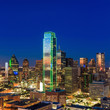 Dallas, Texas cityscape with blue sky at sunset