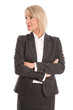 Ältere Business Frau isoliert in Kostüm auf Weiß