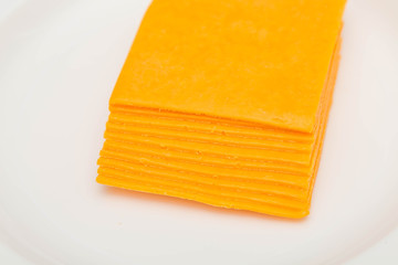 Stack of Sliced Cheddar Cheese